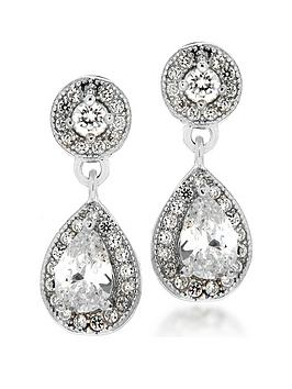 the-love-silver-collection-sterling-silver-amp-cubic-zirconia-halo-stud-amp-teardrop-earrings