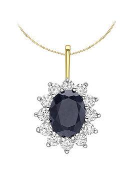 love-gem-9ct-gold-sapphire-amp-cubic-zirconia-halo-pendant-necklace