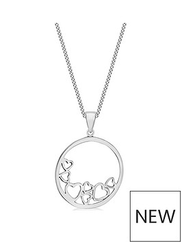 the-love-silver-collection-sterling-silver-round-pendant-heart-necklace