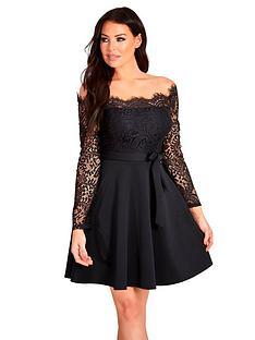 sistaglam-loves-jessica-lace-top-tie-waist-off-the-shoulder-skater-dress-black