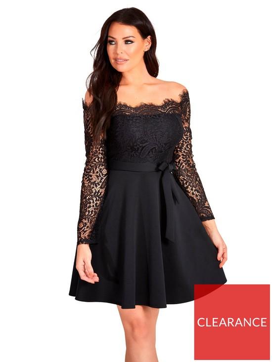 377cb7140d Sistaglam Loves Jessica Lace Top Tie Waist Off The Shoulder Skater Dress -  Black