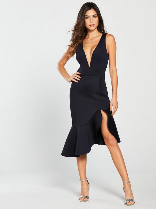6bee89cc1ba3 Lavish Alice V Neck Plunge Scuba Midi Dress - Black