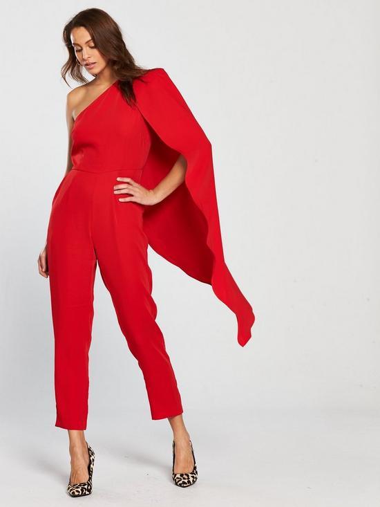 05ec01045cb0 Lavish Alice One Shoulder Cape Tailored Jumpsuit - Red