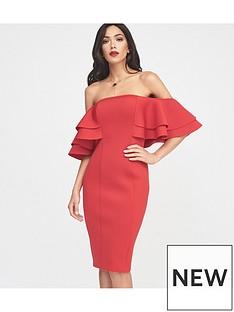 lavish-alice-lavish-alice-exaggerated-double-frill-sleeve-bardot-scuba-midi-dress-in-red