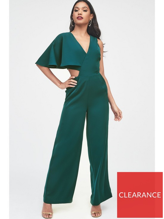 5972fe71cd43 Lavish Alice One Sleeve Cutout Wide Leg Jumpsuit - Forest Green ...