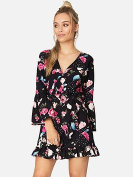 girls-on-film-splicing-floral-spot-wrap-dress-printed