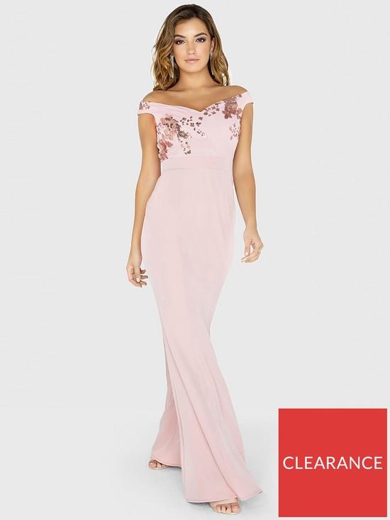 bb6f070e56a Little Mistress Sequin Mesh Maxi Dress - Rose