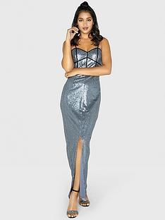 237f470e988739 Little Mistress Strappy Sequin Maxi Dress - Slate