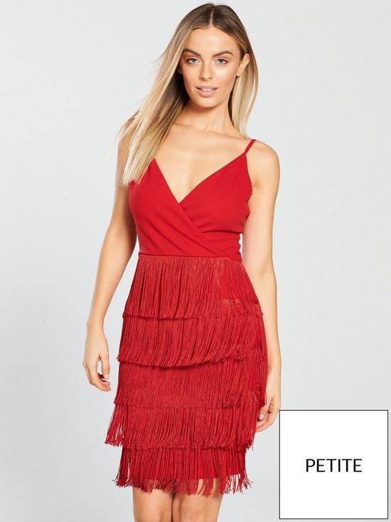 606a58bfaf AX Paris Petite Petite Fringe Detail Mini Dress - Red
