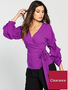 lavish-alice-gathered-sleeve-wrap-shirt-bright-purple