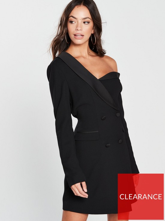 d1ebcca3ccaf Lavish Alice Off The Shoulder Tuxedo Mini Dress with Satin Lapel - Black