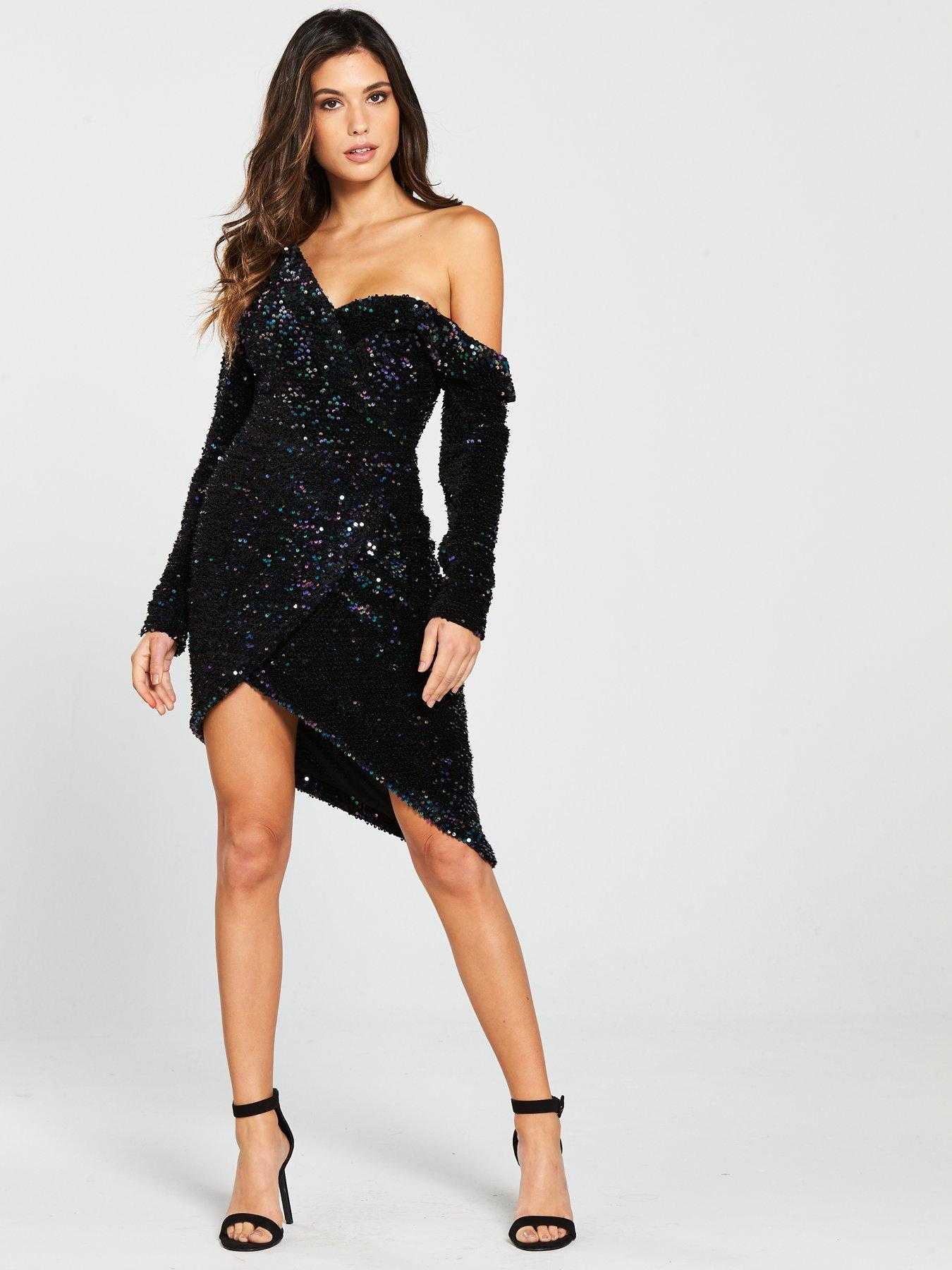 Blue Sequin Mini Dress