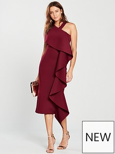 lavish-alice-scuba-statementnbspfrill-halter-neck-midi-dress-burgundy