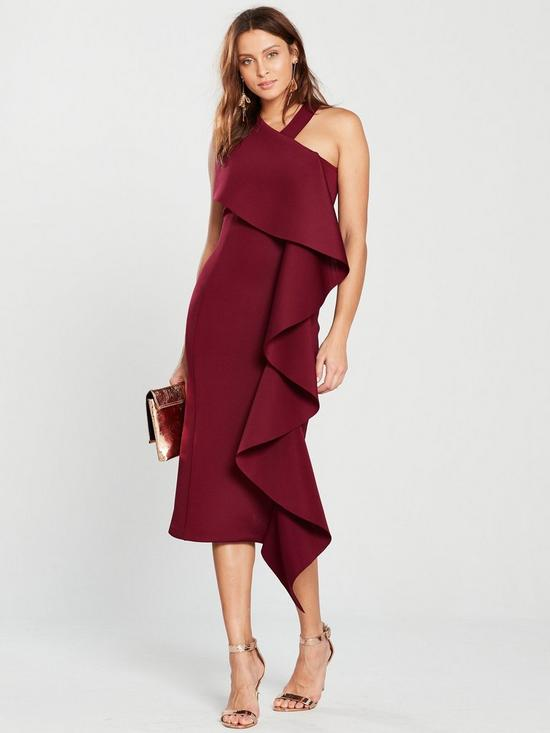 e946ce0f6abb Lavish Alice Scuba Statement Frill Halter Neck Midi Dress - Burgundy ...