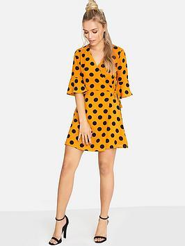 Girls On Film Large Spot Frill Sleeve Wrap Dress - Orange