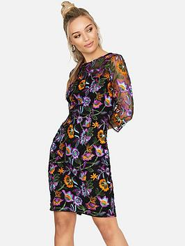 Girls On Film Embroidered Bodycon Dress