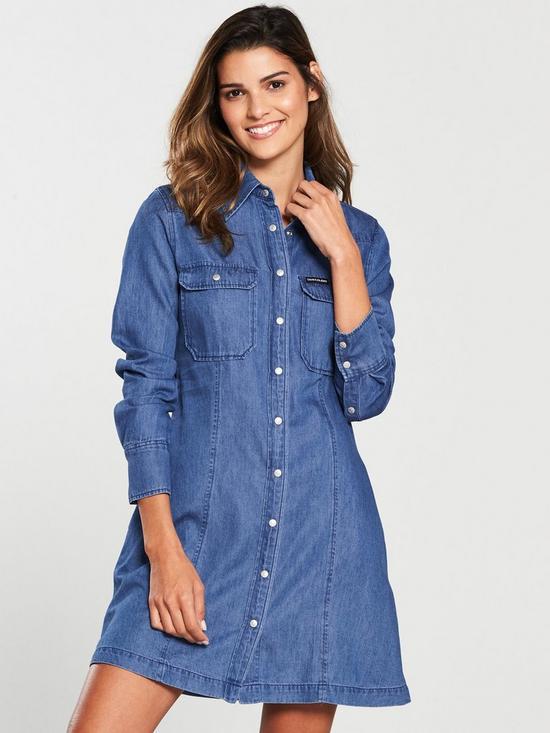 2af9cca085c2 Calvin Klein Denim Tencel Shirt Dress - Blue