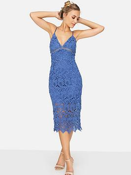 Girls On Film Crochet Strappy Bodycon Dress - Powder Blue
