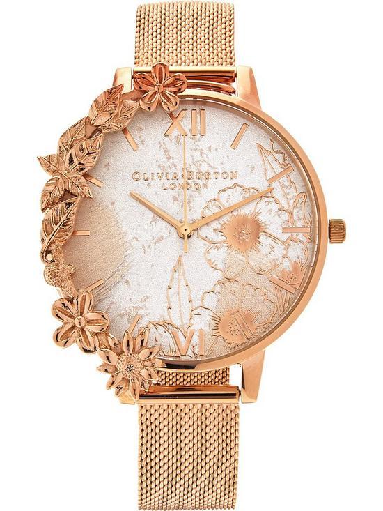 5c68143f207e OLIVIA BURTON Case Cuff Abstract Florals Mesh Strap Watch - Rose Gold