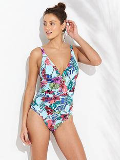 V by Very Shapewear Swimsuit - Aqua Print 70d6ea6f6