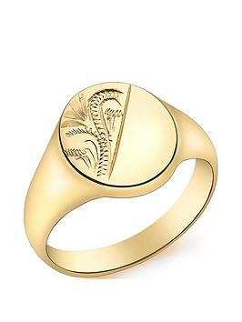 love-gold-9ct-gold-oval-half-engraved-pattern-signet-ring