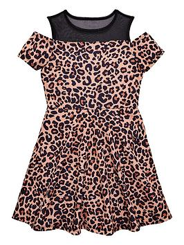 v-by-very-girls-mesh-cold-shoulder-leopard-print-party-dress