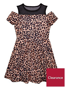 v-by-very-girls-mesh-cold-shoulder-leopard-print-party-dress
