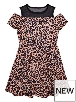 v-by-very-mesh-cold-shoulder-leopard-dress