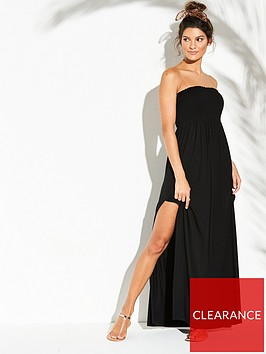 v-by-very-jersey-shirred-bandeau-beach-maxi-dress-black