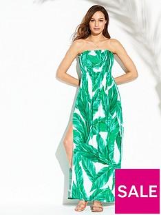 v-by-very-jersey-shirred-bandeau-beach-maxi-dress-leaf-print