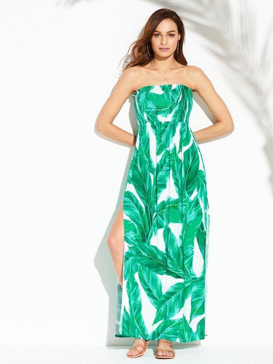 4f77274b1ae V by Very Jersey Shirred Bandeau Beach Maxi Dress - Leaf Print ...