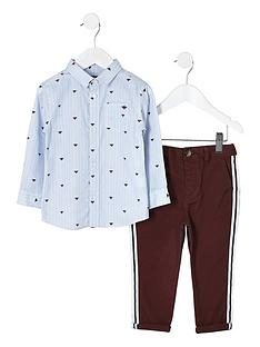 river-island-mini-boys-blue-shirt-and-red-chino-set