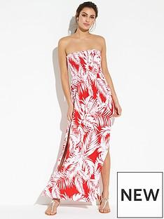 v-by-very-jersey-shirred-bandeau-beach-maxi-dress-print