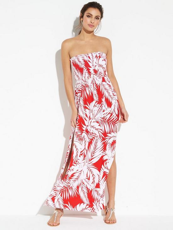 b171e355fb1 V by Very Jersey Shirred Bandeau Beach Maxi Dress - Print