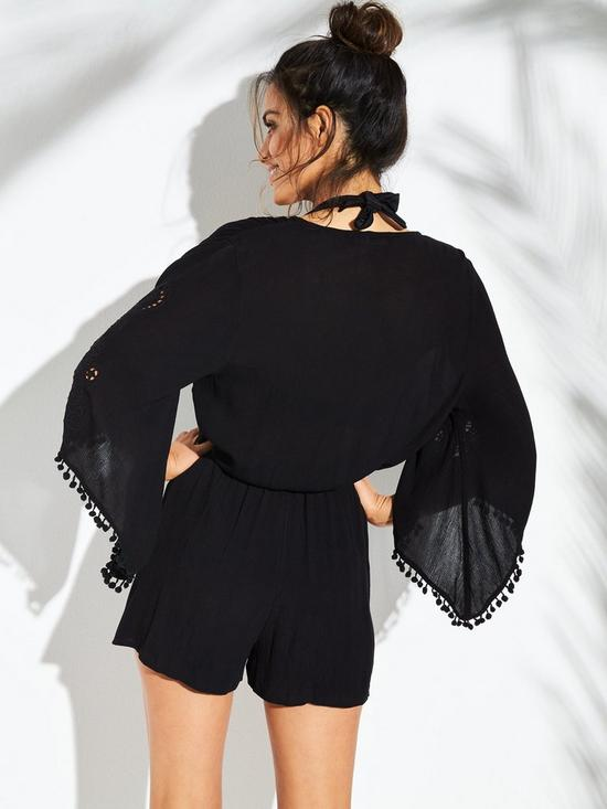 411bcdb1622 ... V by Very Cutwork Detail Pom Pom Trim Woven Beach Playsuit - Black    Previous   Next. 2 people are looking at this right now.