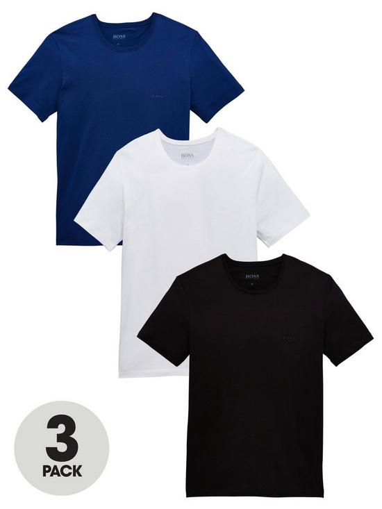 683687648 BOSS Bodywear Core 3 Pack T-Shirt - White/Blue/Black | very.co.uk
