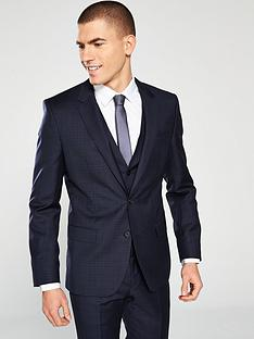 hugo-plain-check-suit-jacket-dark-blue