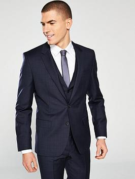 hugo-plain-check-suit-jacket-dark-blue