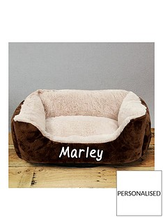 personalised-grey-luxury-pet-bed-creambrown