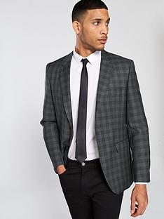 hugo-plain-check-suit-jacket-charcoal