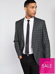 hugo-plain-check-suit-jacket-charcoal