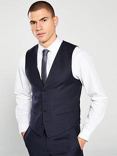 hugo-plain-check-suit-waistcoat