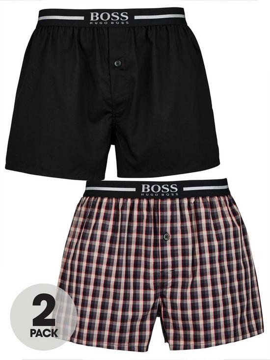 3d67de9ec43e BOSS by Hugo Boss 2 Pack Woven Boxer Short - Black/Red & Blue Check ...