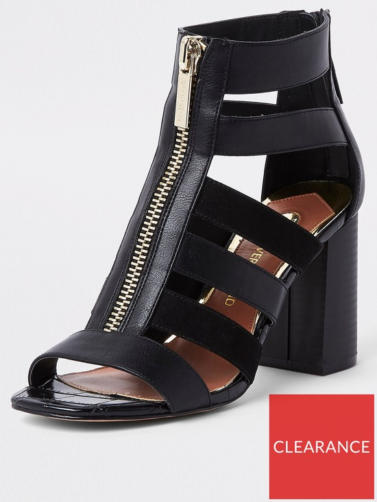 92142126ac River Island Wide Fit Strappy Block Heel Sandals - Black | very.co.uk
