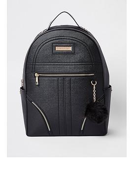 river-island-river-island-pom-pom-zip-front-backpack-black