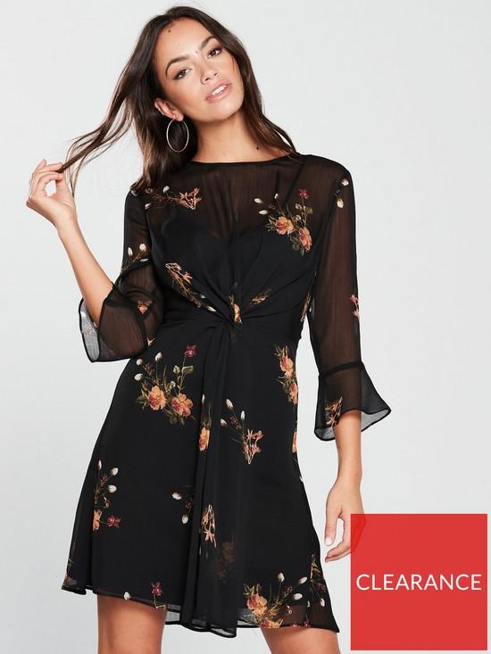 beaeccf7a8 V by Very Printed Tie Front Dress - Black