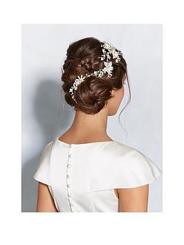 jon richard jon richard silver floral hair vine with crystal & pearls