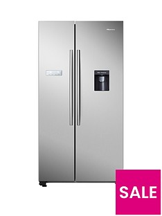Hisense RS741N4WC11 90cm Wide, Total No Frost American-Style Fridge Freezer with Non-Plumbed Water Dispenser - Stainless Steel
