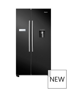 Hisense RS741N4WB11 90cm Wide, Total No Frost, American-Style Fridge Freezer with Non-Plumbed Water Dispenser - Black