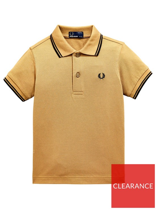 43713b83 Fred Perry Boys Twin Tipped Short Sleeve Polo Shirt - Khaki | very.co.uk